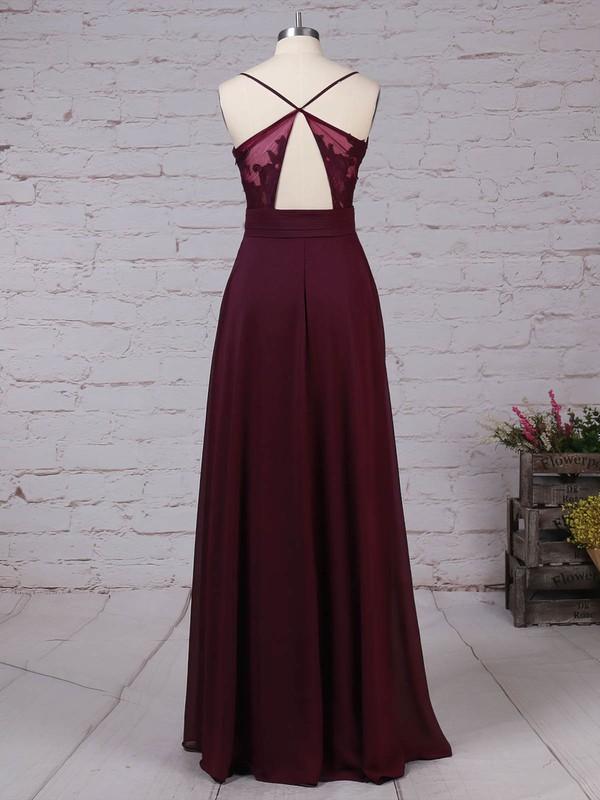 Lace Chiffon V-neck Floor-length A-line Ruffles Prom Dresses #LDB020105832