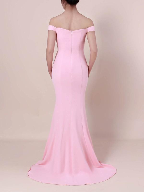 Silk-like Satin Off-the-shoulder Sweep Train Trumpet/Mermaid Draped Prom Dresses #LDB020105833
