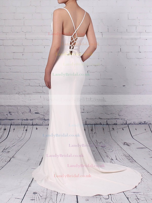 Silk-like Satin V-neck Sweep Train Sheath/Column Split Front Prom Dresses #LDB020105856
