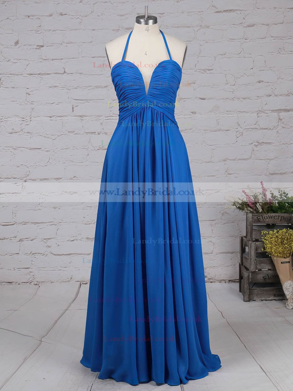 Chiffon Halter Floor-length A-line Ruffles Prom Dresses #LDB020105857