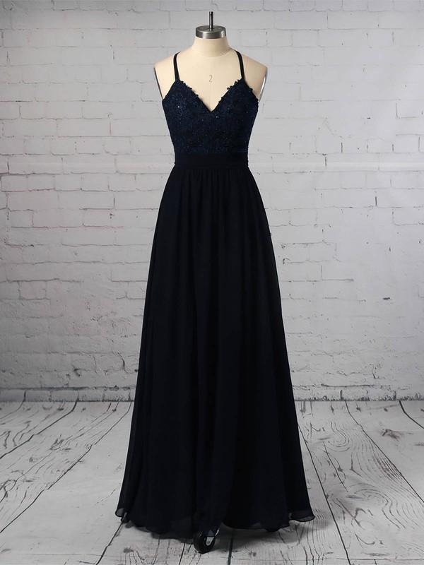 Chiffon V-neck Floor-length A-line Beading Prom Dresses #LDB020105860
