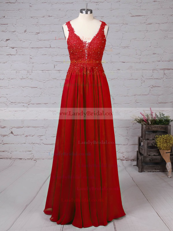 Chiffon Tulle V-neck Floor-length A-line Beading Prom Dresses #LDB020105861