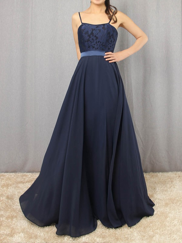Chiffon Scoop Neck Floor-length A-line Appliques Lace Prom Dresses #LDB020105862
