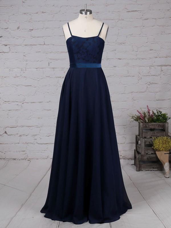 Chiffon Scoop Neck Floor-length A-line Appliques Lace Prom Dresses #LDB020105862