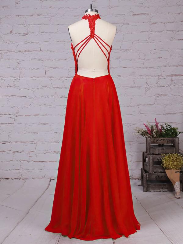 Lace Chiffon High Neck Floor-length A-line Beading Prom Dresses #LDB020105863