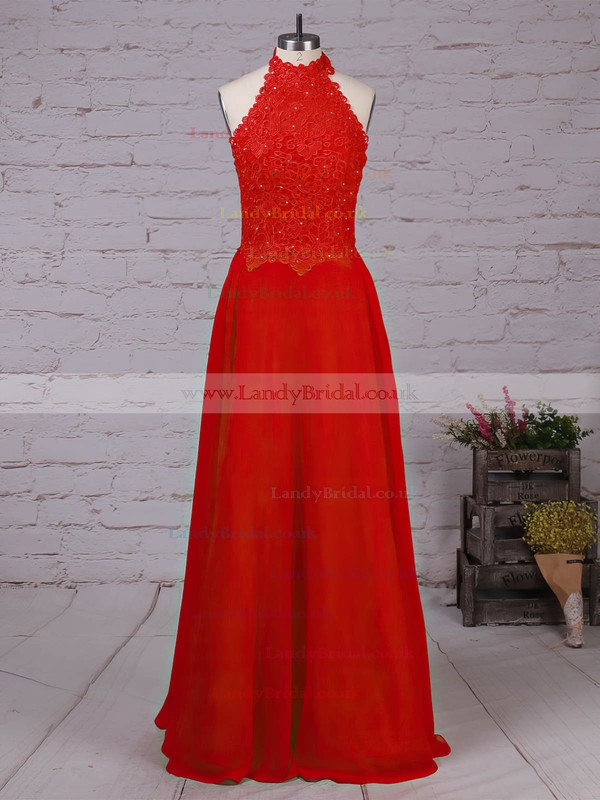 Lace Chiffon High Neck Floor-length A-line Beading Prom Dresses #LDB020105863