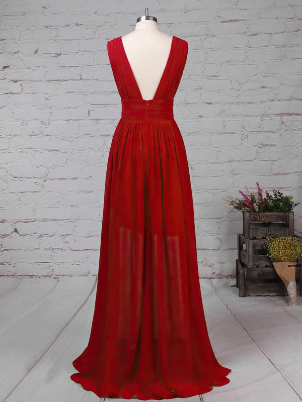 Chiffon V-neck Floor-length A-line Ruffles Prom Dresses #LDB020105865