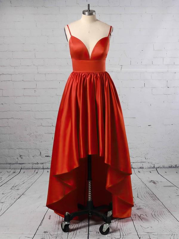 Satin V-neck Asymmetrical A-line Prom Dresses #LDB020105866