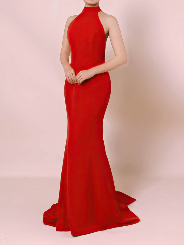 Elastic Woven Satin Halter Sweep Train Trumpet/Mermaid Prom Dresses #LDB020105867