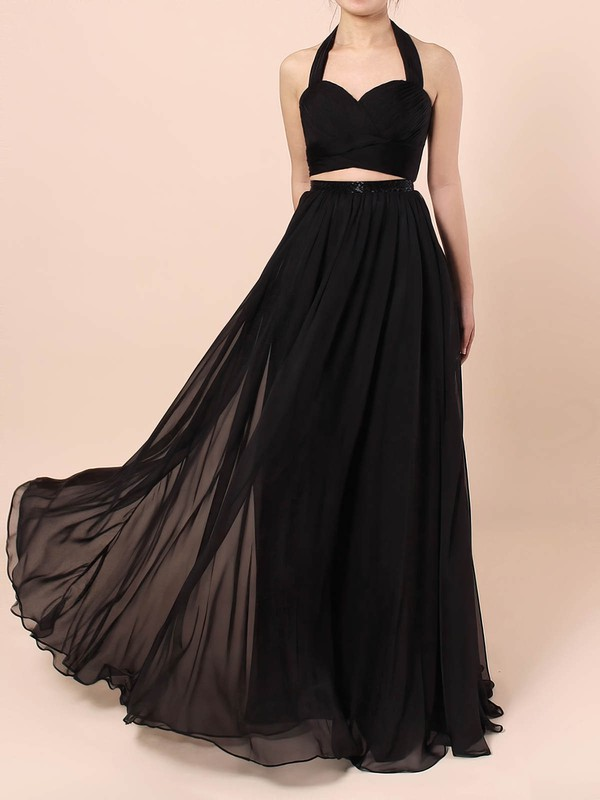 Chiffon Halter Floor-length A-line Sashes / Ribbons Prom Dresses #LDB020105869