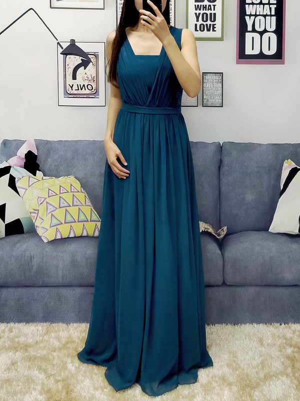 Chiffon Halter Floor-length A-line Sashes / Ribbons Prom Dresses #LDB020105870