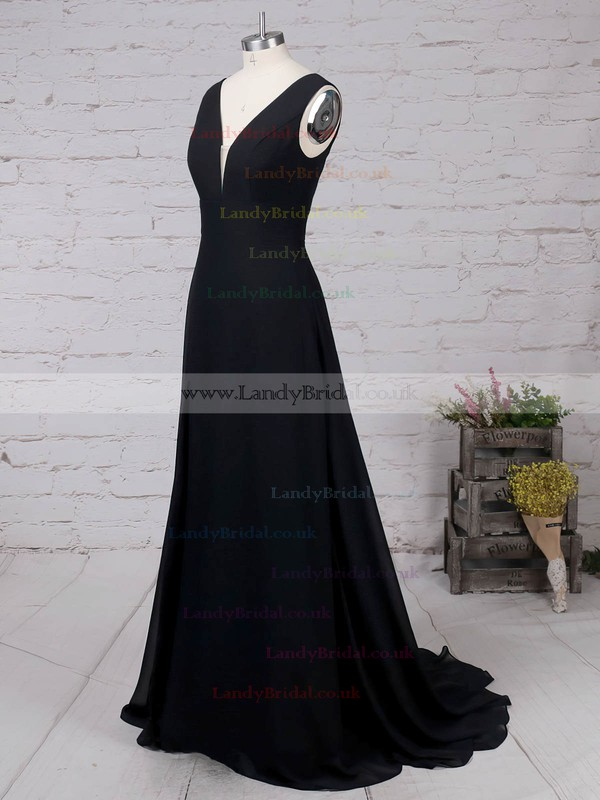 Chiffon V-neck Sweep Train A-line Split Front Prom Dresses #LDB020105871