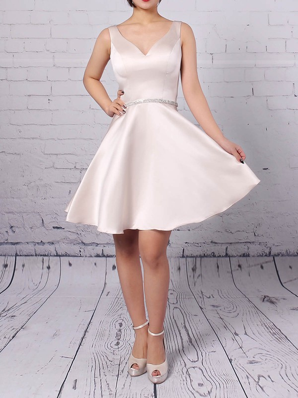 Satin V-neck Short/Mini A-line Beading Prom Dresses #LDB020105873