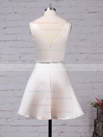 Satin V-neck Short/Mini A-line Beading Prom Dresses #LDB020105873