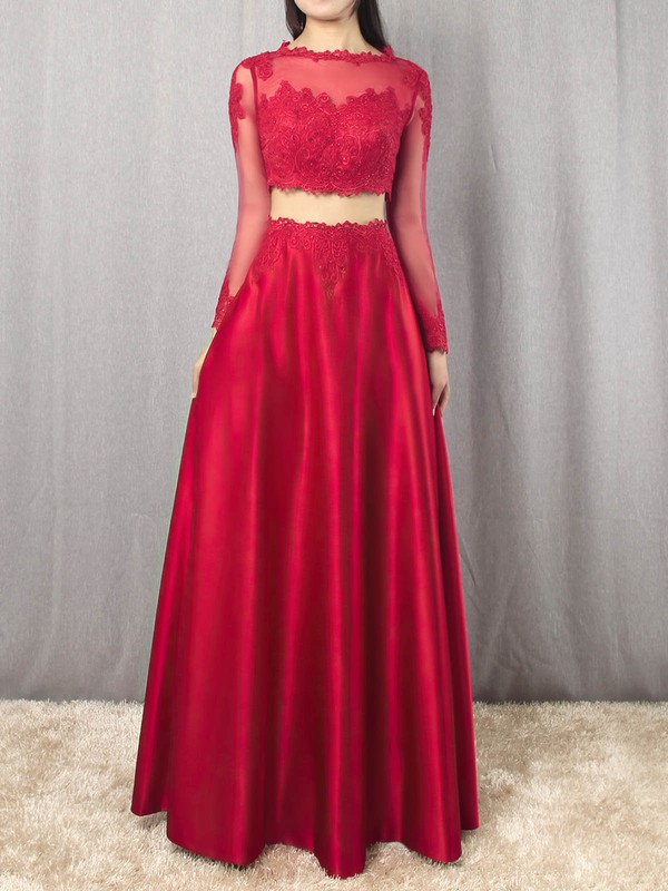Satin Tulle Scoop Neck Floor-length A-line Appliques Lace Prom Dresses #LDB020105879