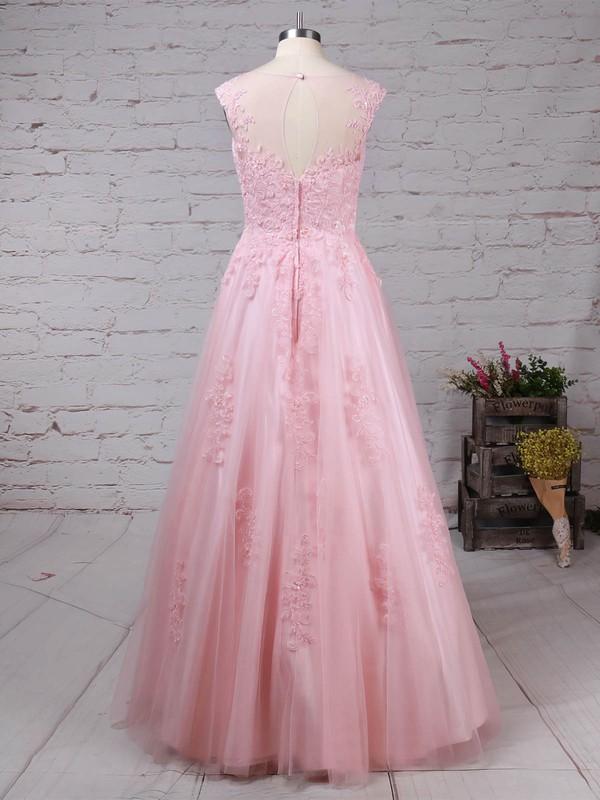 Tulle Scoop Neck Floor-length Princess Appliques Lace Prom Dresses #LDB020105893