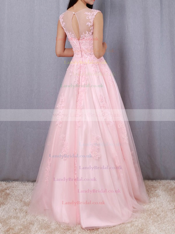 Tulle Scoop Neck Floor-length Princess Appliques Lace Prom Dresses #LDB020105893