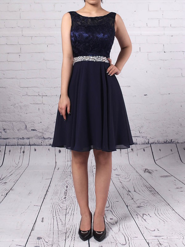 Lace Chiffon Scoop Neck Short/Mini A-line Beading Prom Dresses #LDB020105894