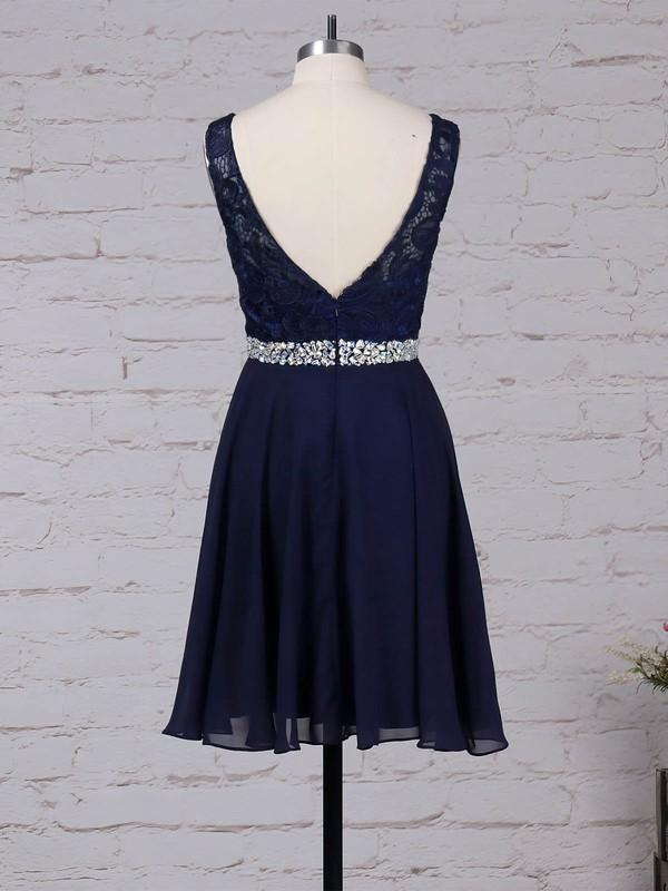 Lace Chiffon Scoop Neck Short/Mini A-line Beading Prom Dresses #LDB020105894