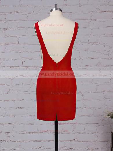 Tulle Elastic Woven Satin Scoop Neck Short/Mini Sheath/Column Draped Prom Dresses #LDB020105899