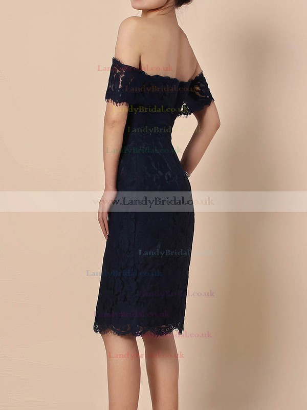 Lace Off-the-shoulder Knee-length Sheath/Column Prom Dresses #LDB020105900