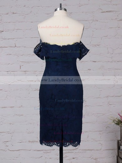 Lace Off-the-shoulder Knee-length Sheath/Column Prom Dresses #LDB020105900