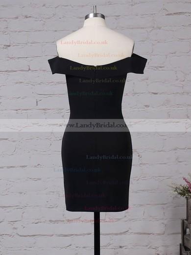 Elastic Woven Satin Off-the-shoulder Short/Mini Sheath/Column Draped Prom Dresses #LDB020105904
