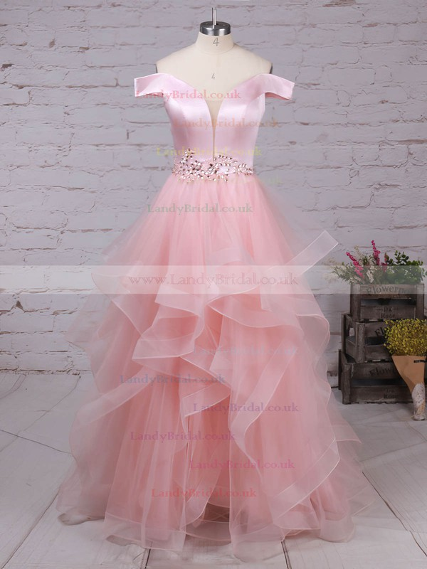 Satin Organza Off-the-shoulder Floor-length Ball Gown Beading Prom Dresses #LDB020105909