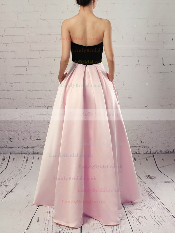 Satin Strapless Asymmetrical Ball Gown Pockets Prom Dresses #LDB020105911