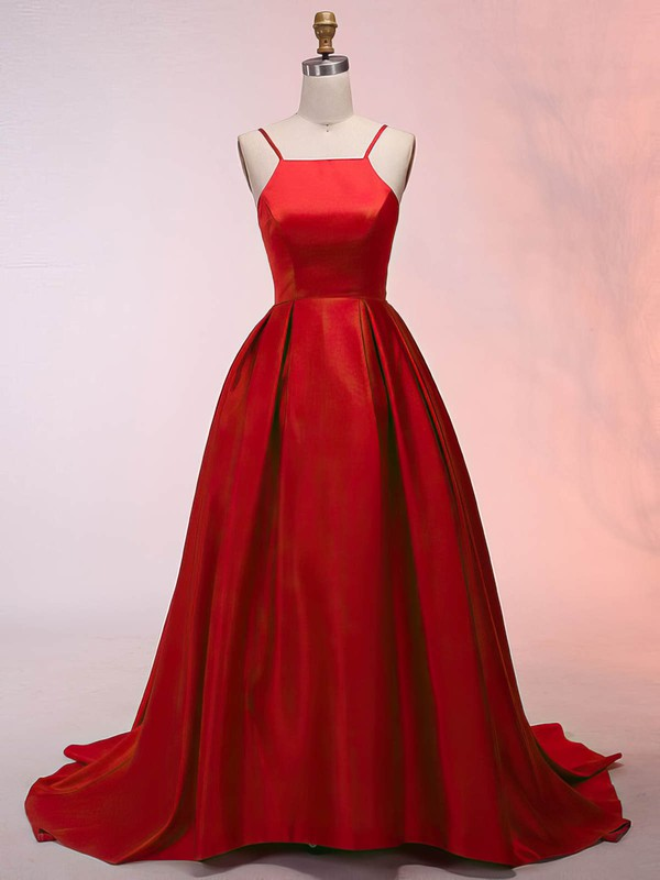 Satin Scoop Neck Asymmetrical Ball Gown Prom Dresses #LDB020105912