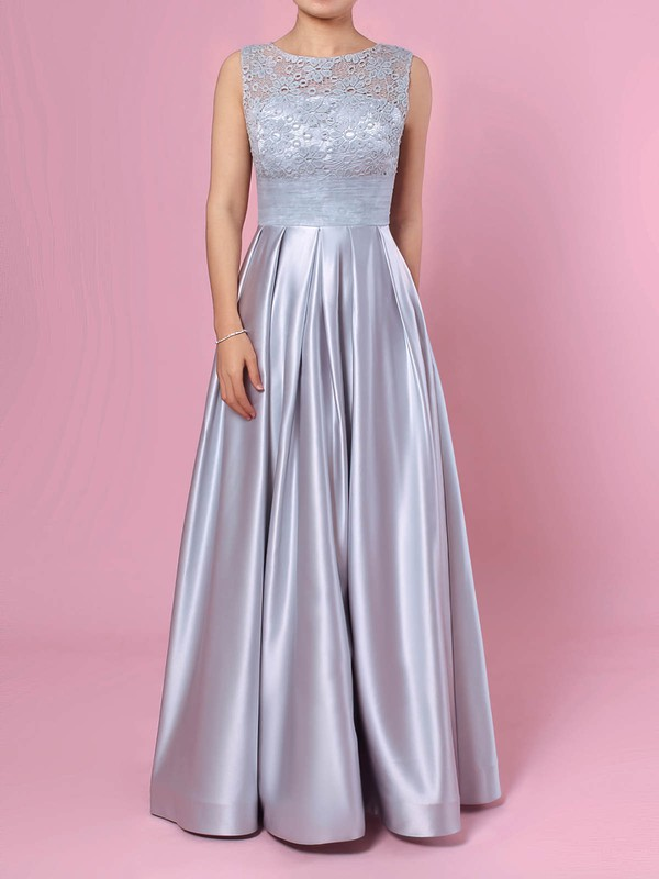 Lace Satin Scoop Neck Floor-length Princess Pockets Prom Dresses #LDB020105913