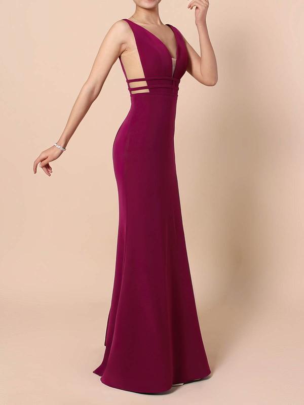 Tulle Elastic Woven Satin V-neck Sweep Train Sheath/Column Prom Dresses #LDB020105915