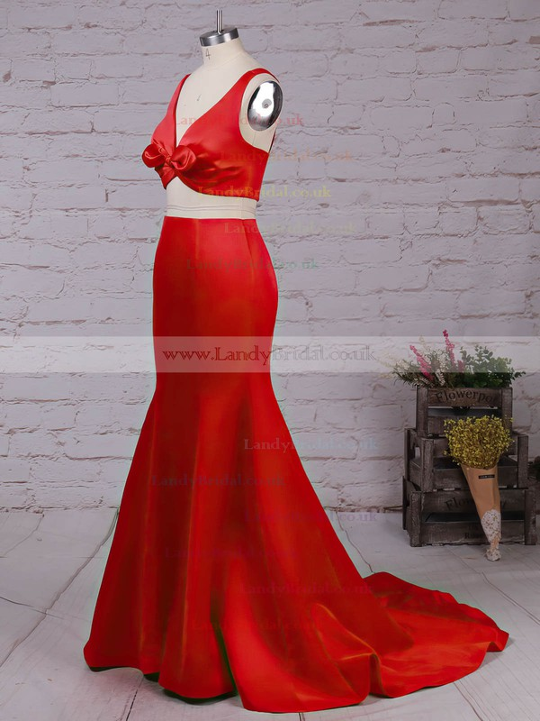 Satin V-neck Sweep Train Trumpet/Mermaid Ruffles Prom Dresses #LDB020105916