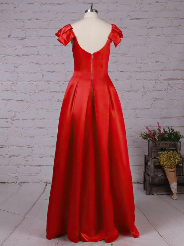 Satin Scoop Neck Floor-length A-line Prom Dresses #LDB020105917