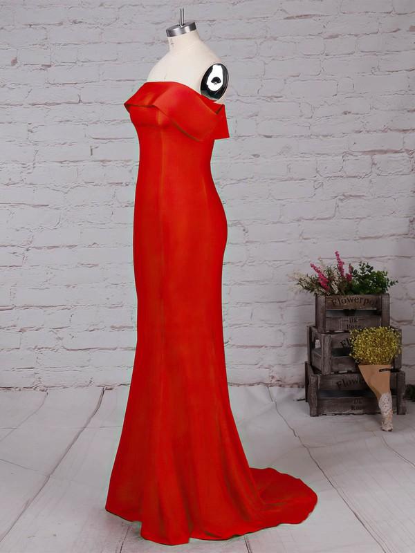 Jersey Off-the-shoulder Sweep Train Sheath/Column Prom Dresses #LDB020105918