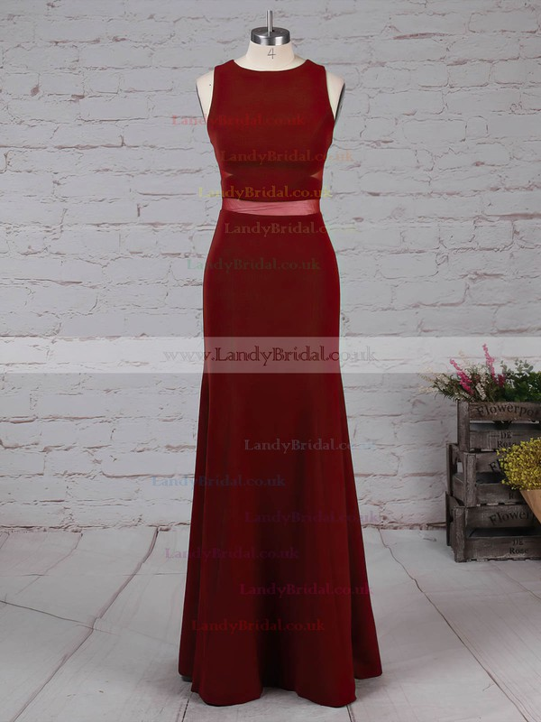 Tulle Elastic Woven Satin Scoop Neck Sweep Train Sheath/Column Prom Dresses #LDB020105919