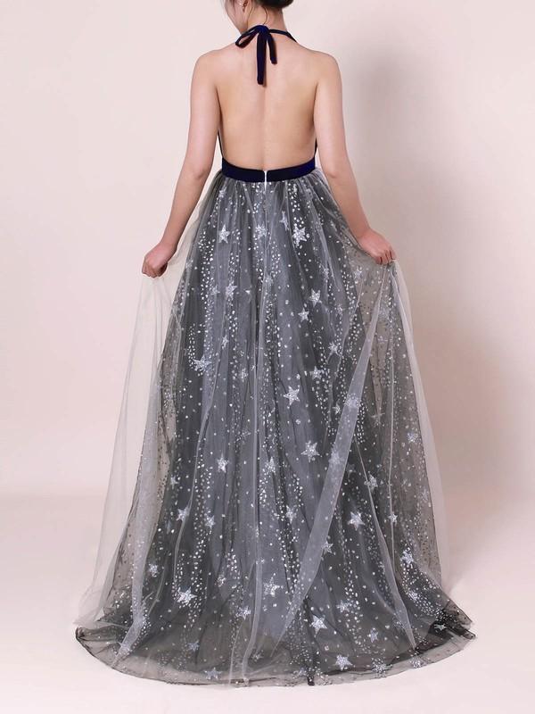 Tulle Velvet Halter Sweep Train Princess Sequins Prom Dresses #LDB020105920
