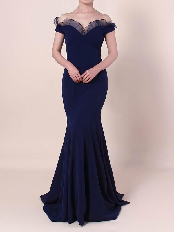 Elastic Woven Satin Off-the-shoulder Floor-length Trumpet/Mermaid Prom Dresses #LDB020105922
