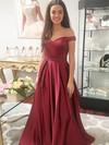 Satin Off-the-shoulder Floor-length Princess Beading Prom Dresses #LDB020105925