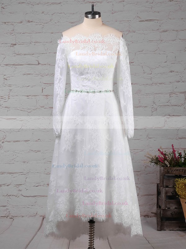 Lace Off-the-shoulder Ball Gown Tea-length Beading Wedding Dresses #LDB00023273