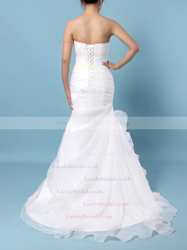 Chiffon Sweetheart Trumpet/Mermaid Sweep Train Ruched Wedding Dresses #LDB00023291