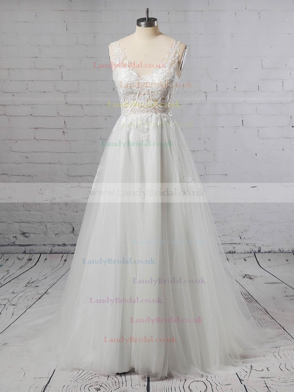 Tulle V-neck A-line Floor-length Appliques Lace Wedding Dresses #LDB00023352