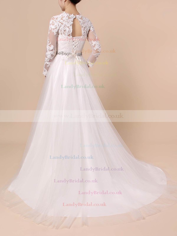Tulle Scoop Neck Ball Gown Sweep Train Appliques Lace Wedding Dresses #LDB00023354
