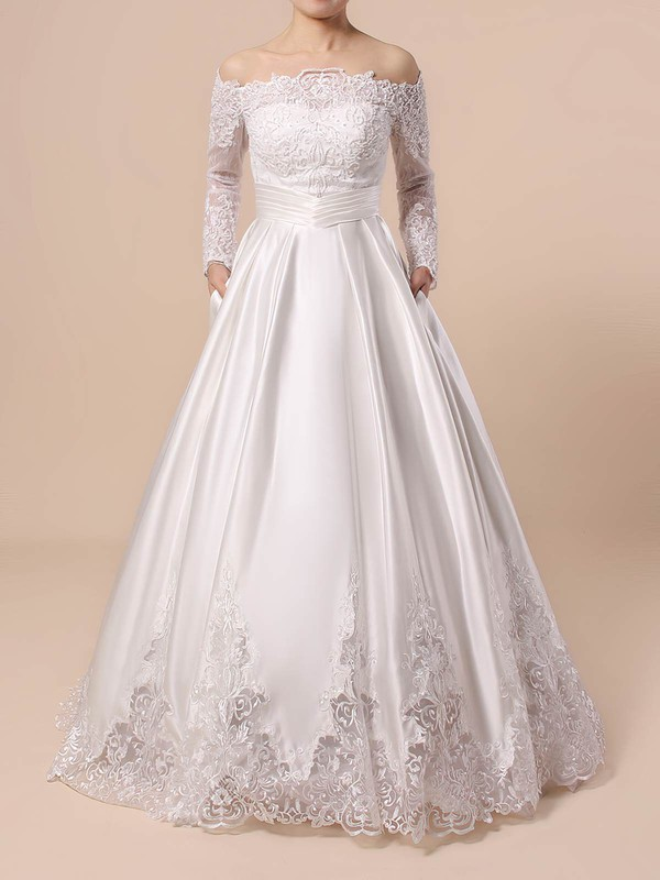 Lace Satin Off-the-shoulder Ball Gown Floor-length Beading Wedding Dresses #LDB00023376