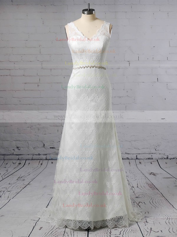 Lace V-neck Trumpet/Mermaid Sweep Train Sashes / Ribbons Wedding Dresses #LDB00023378