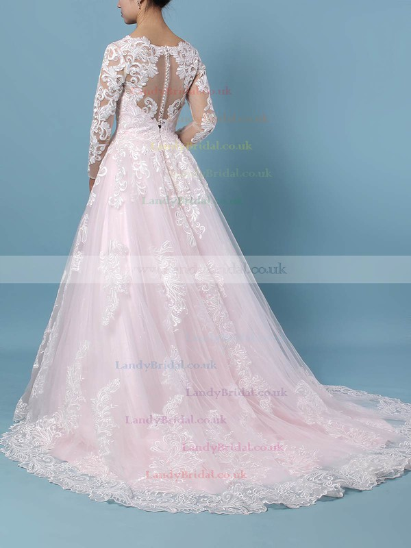 Tulle V-neck Ball Gown Sweep Train Appliques Lace Wedding Dresses #LDB00023379