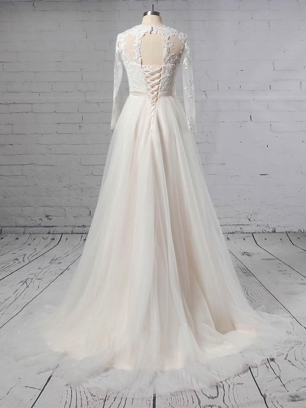 Tulle Scoop Neck Princess Sweep Train Appliques Lace Wedding Dresses #LDB00023382