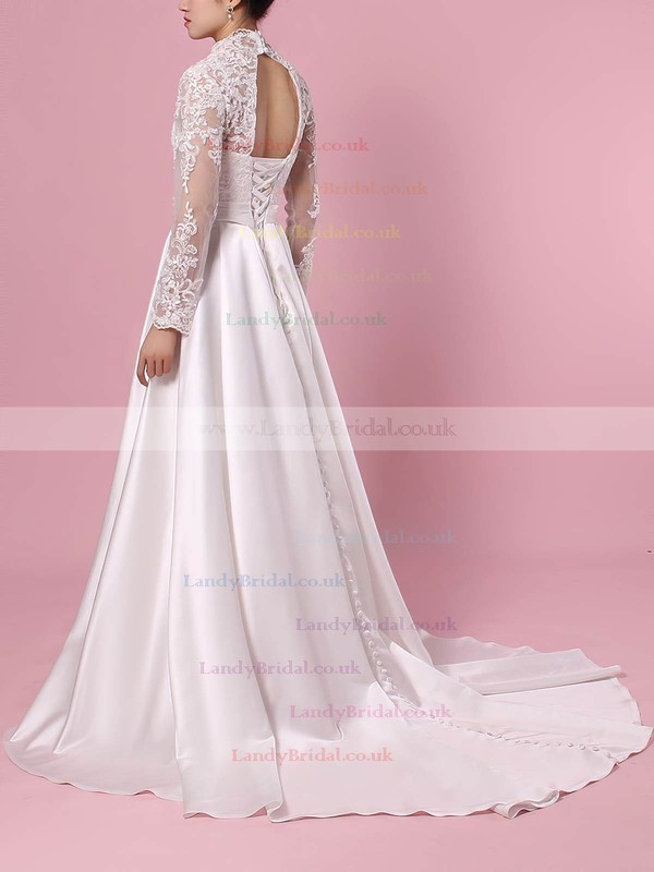 Satin Tulle V-neck Ball Gown Sweep Train Appliques Lace Wedding Dresses #LDB00023383