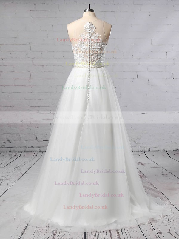 Tulle Scoop Neck A-line Sweep Train Beading Wedding Dresses #LDB00023384