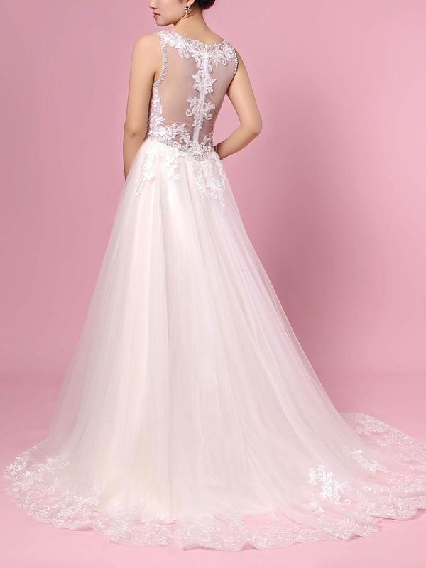 Tulle V-neck Princess Sweep Train Beading Wedding Dresses #LDB00023386
